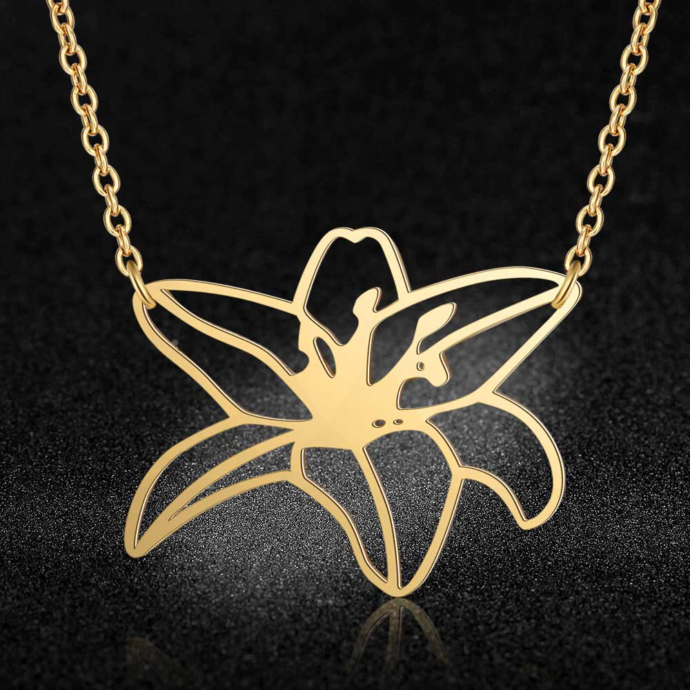 100 Real Stainless Steel Hollow Large Plumeria Flower Necklace