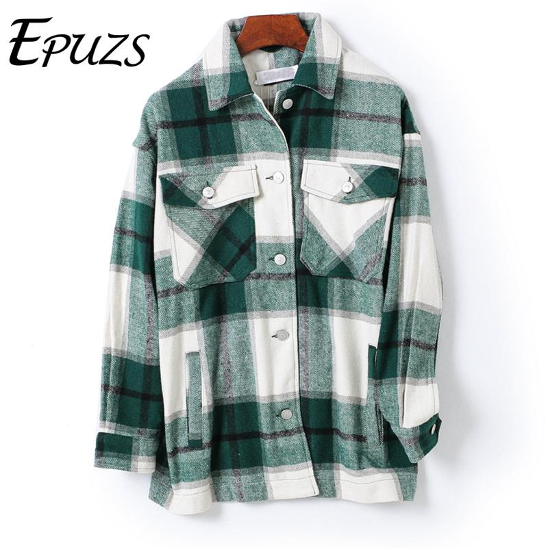 Winter red green plaid plaid shirt women casual womens blouses and tops vintage women blouses plus size camisas mujer