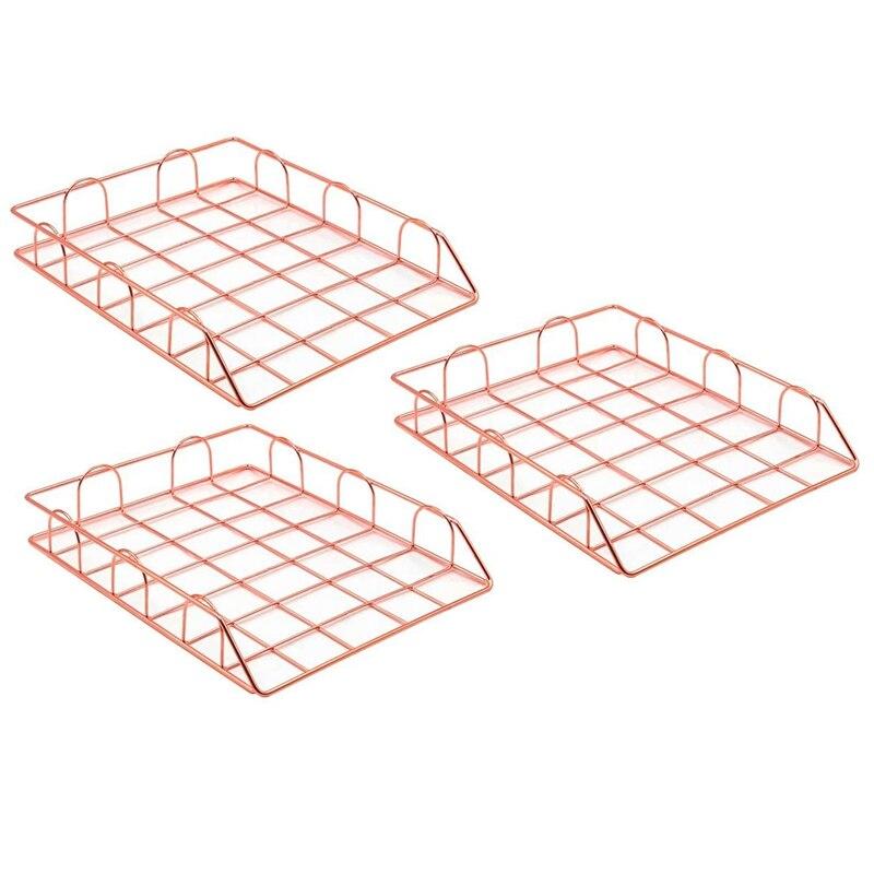 3Pcs Metal Desk Accessories Magazine Rack File Rack Office Storage Box Layered Paper Storage Tray