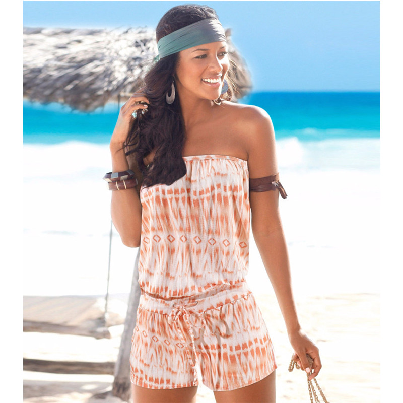 Jumpsuit Women Summer 2020 Sexy Off The Shoulder Print Jumpsuits Lace Up Playsuits Tube Top Rompers Womens Casual Beach Wear