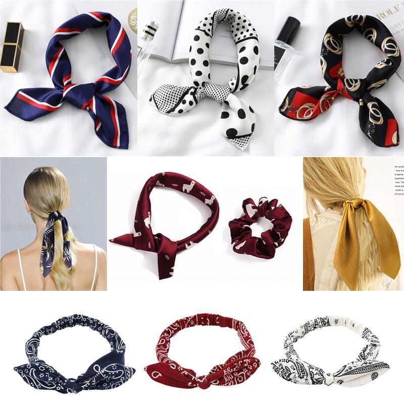 2020 Small Square Silk Neck Scarf Women Hair Headband Design Print Foulard Lady Satin Hair Scarves Elastic Turban Bandanas