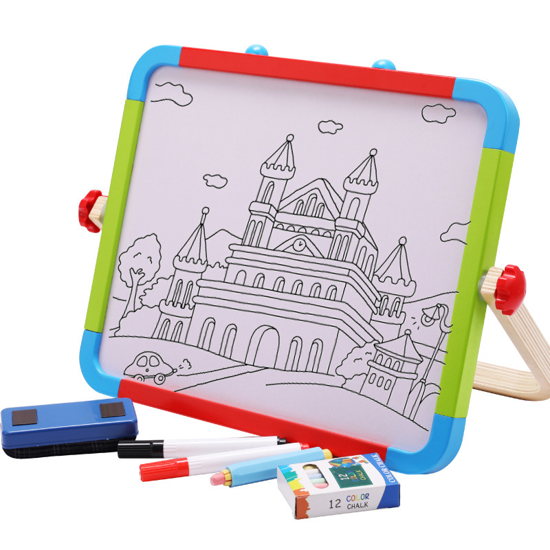 Children Wooden Color Magnetic Drawing Board Convenient Portable Can Regulation Double-Sided Wooden Drawing Board Wholesale