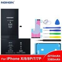 Bateria original do li-íon de nohon para o iphone x 7 8 plus 7 mais 8 baterias da substituição do telefone para iphone7 iphone8 capacidade máxima