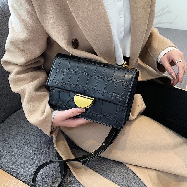 UK NEW Women PU Leather Shoulder Messenger Chain handbag black fashion Bag