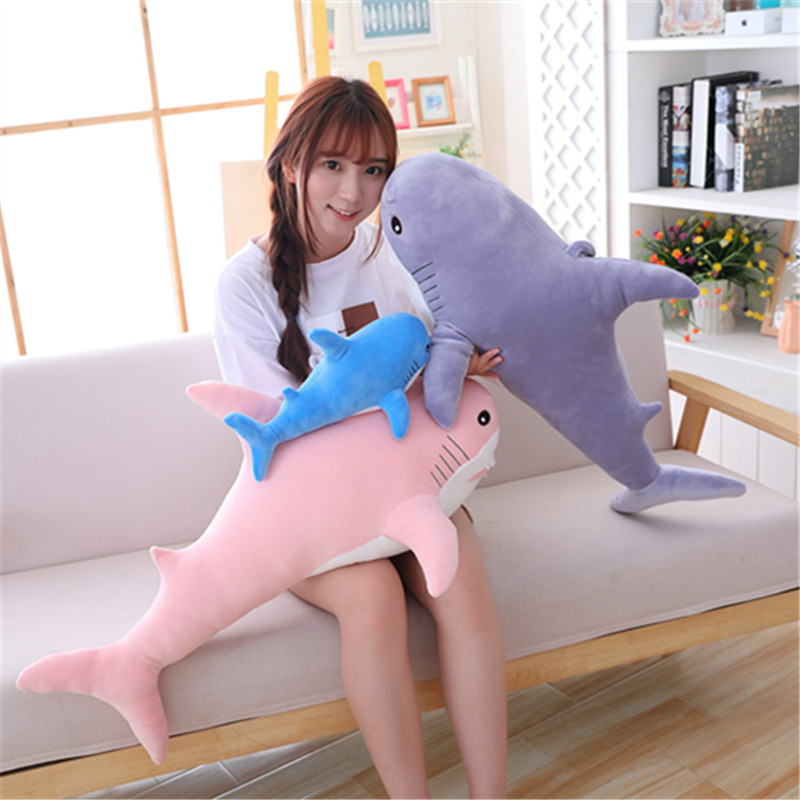 Hot Sale Long Plush Toy Down Cotton Filled Animal Sea Animal Shark Long Pillow Skin-friendly Soft Fabric Sleep Pillow Pillow Dol