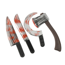 Plastic Bloody Halloween Props Weapons Fancy Knife Cleaver Sickle Decoration Party Accesorios Home Outdoor Decor Kids