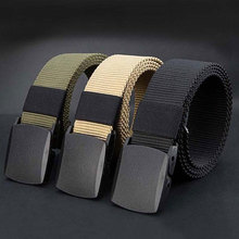 Belt Wear-Resistant with Plastic Buckle Woven Training Military Adjustable Travel Nylon