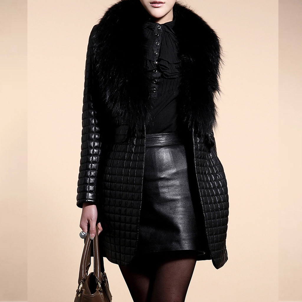 Women Winter Faux Leather Fur Long Sleeve Coat Jacket Outerwear Long Overcoat Faux Fur Luxury Loose Lapel OverCoat Thick Plush