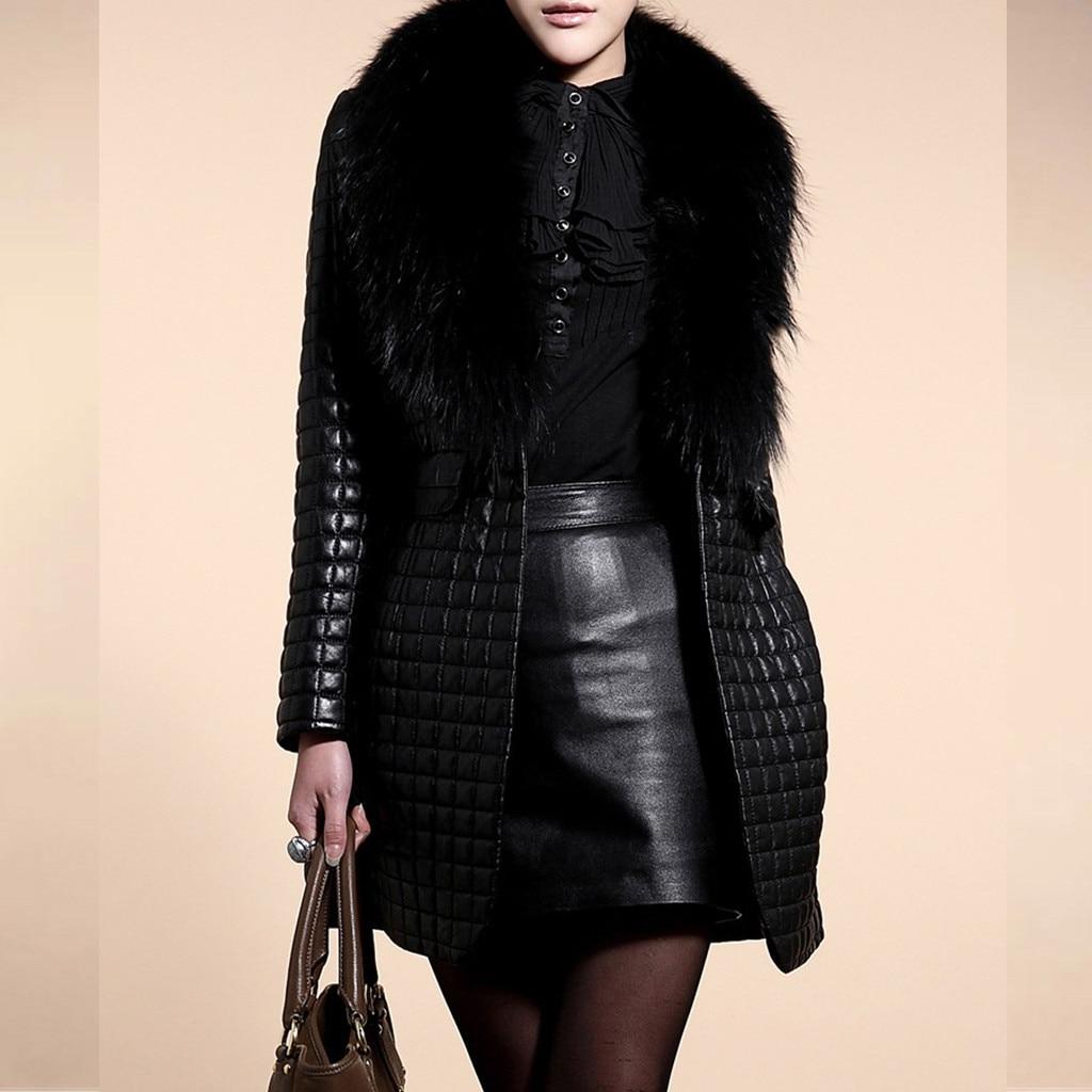 Women Winter Faux Leather Fur Long Sleeve Coat Jacket Outerwear Long Overcoat Faux Fur Luxury Loose Lapel OverCoat Thick Plush