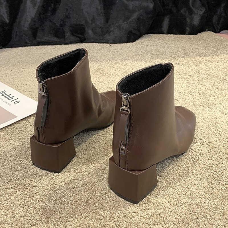 Giày Nữ 2020 Nữ Mới Giữa Ống Rơi Mắt Cá Chân Giày Mùa Thu Giày Da Lộn Lưới Khâu Buộc Dây Vuông Ngón Chân dày Gót Giày