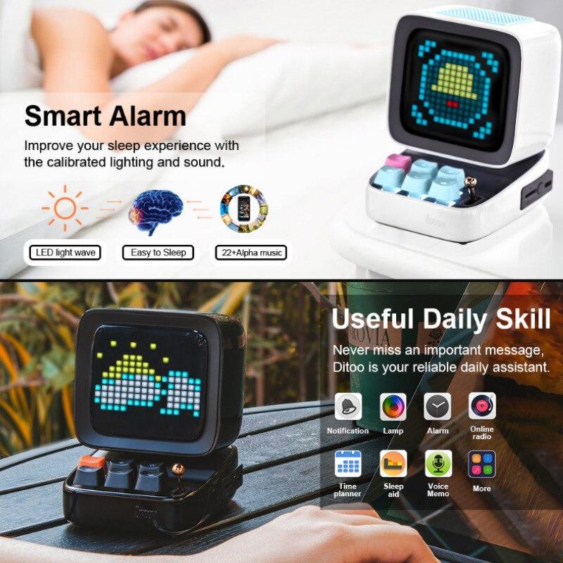 Divoom Ditoo Speaker Bluetooth Portable Mini Sound Box Alarm Clock Music Box LED Screen Night light Online Radio By APP Pixel Ar 4