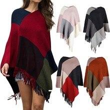 Зимний клетчатый свитер с кисточками для женщин, Дамская мода, сексуальный v-образный вырез, необычный лоскутный свитер, плащ, свободная шаль, свитер, пальто