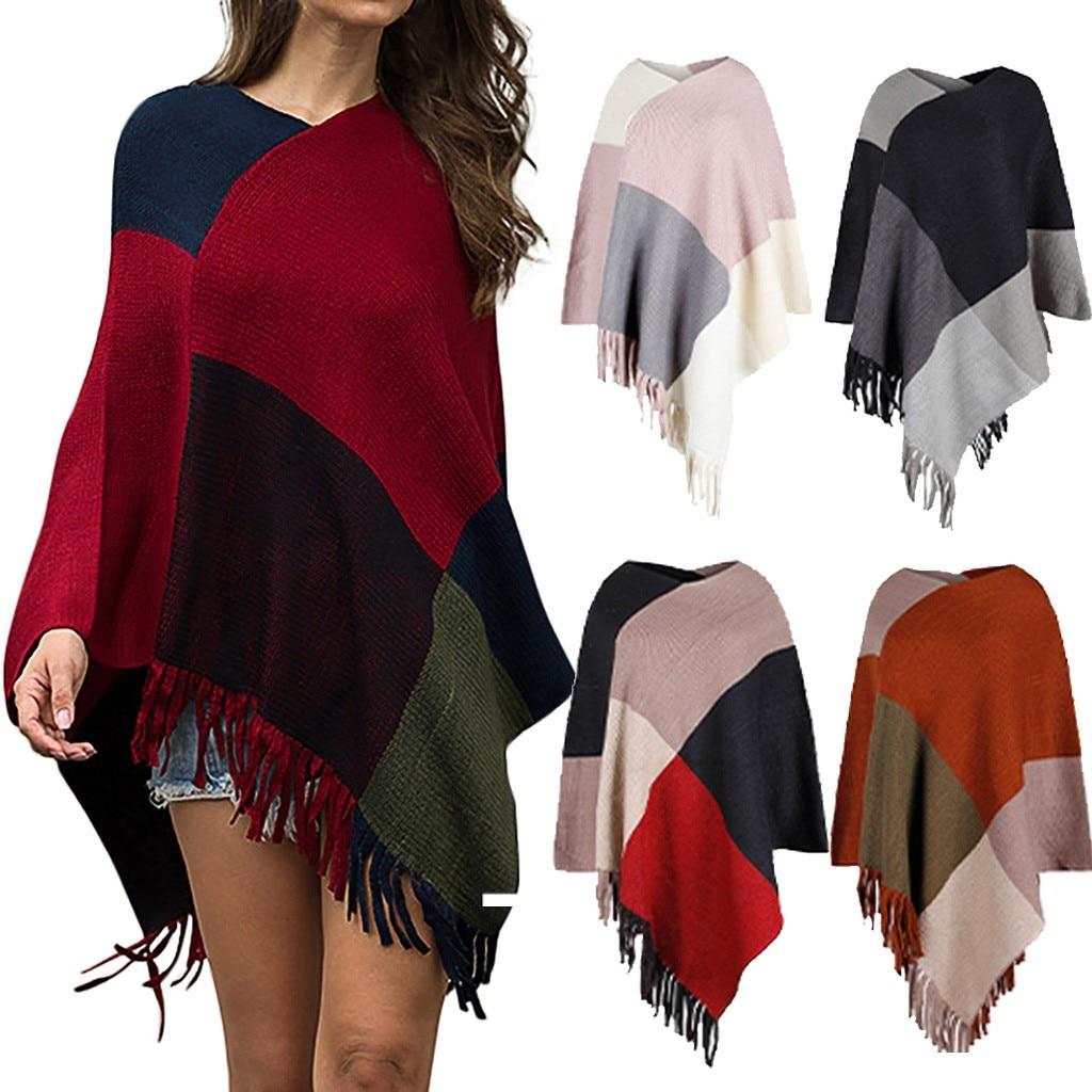 Winter Plaid Tassel Sweater Women Ladies Fashion Sexy V-Neck Irregular Patchwork свитер Cloak Loose Shawl Sweater Coat