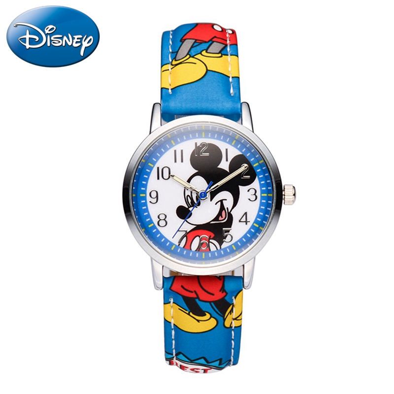 Микки Минни мышь дети прекрасный водонепроницаемые часы мальчики девочки мода повседневная дети кожа сталь часы счастье 14003