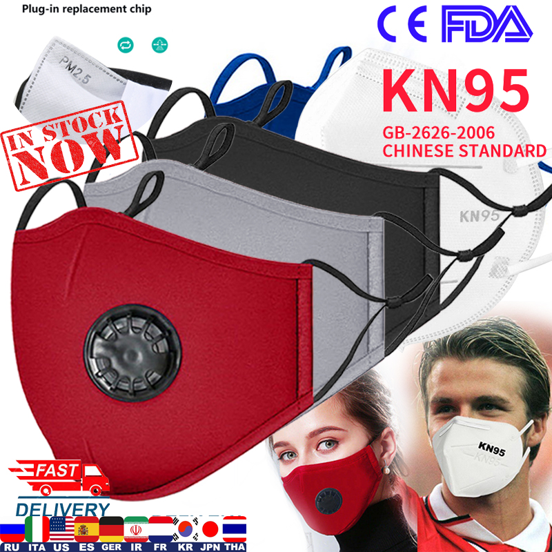 N95 Mask Fashion Unisex Cotton Breath Valve PM2.5 Mouth Masks Anti-Dust Anti Pollution Cloth Activated Carbon Filter Respira