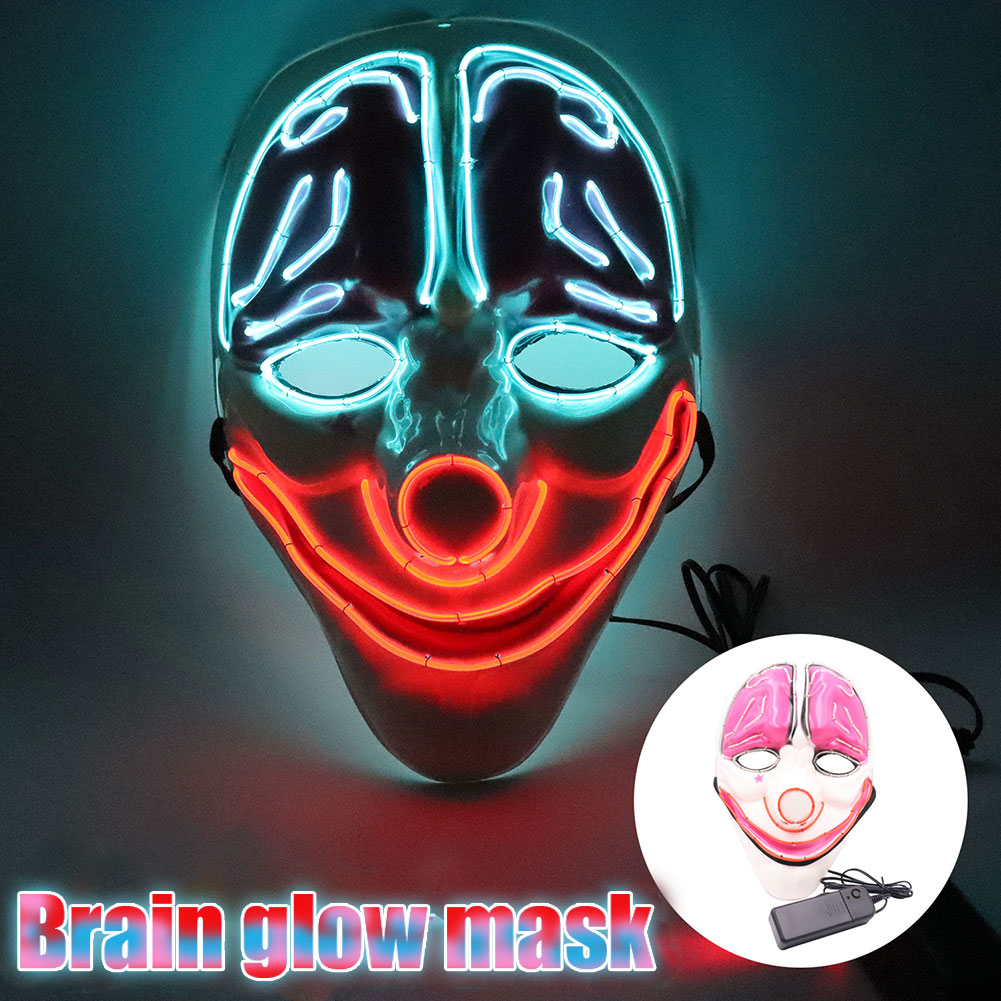 Halloween Mask LED Light Up Scary Clown Wire Mask For Festival Party Cosplay Costume Masquerade FJ88