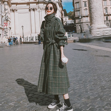 Sash Woolen-Coat LANMREM Women Vintage Green Plaid Long Fashion Single-Breasted Loose