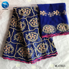 LIULANZHI 2020 Royal blue Bazin riche getzner high quality embroidery Bazin cotton lace fabric with stones 5+2yards ML47B55 liulanzhi tissu bazin riche cotton brode getzner high quality with 2yards french net lace 7 yards lot for dress ml19b87