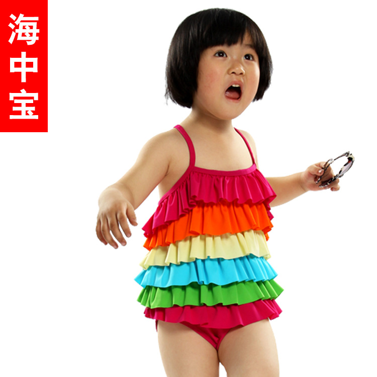 Special Offer Processing 2013 New Style Rainbow Article One-piece Girls Sea Po Bathing Suit YE-6941