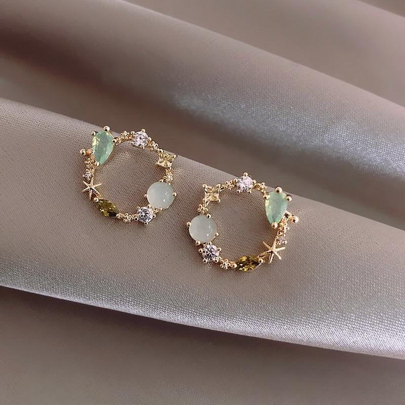 Женские серьги-гвоздики с розовым и зеленым кристаллом, милые корейские серьги с гирляндой, ювелирные изделия, 2020