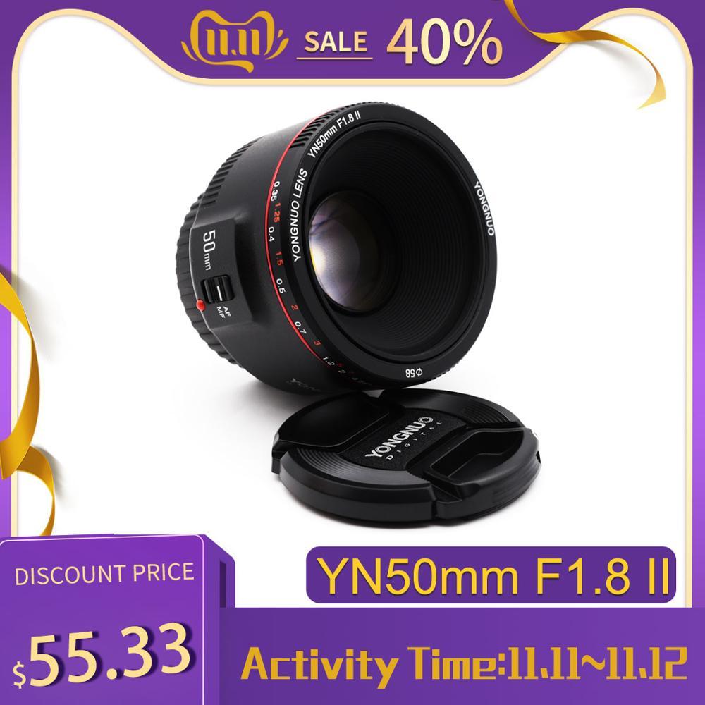 Yongnuo yn50mm f1.8 ii grande abertura lente de foco automático para canon bokeh efeito lente da câmera para canon eos 70d 5d2 5d3 600d dslr