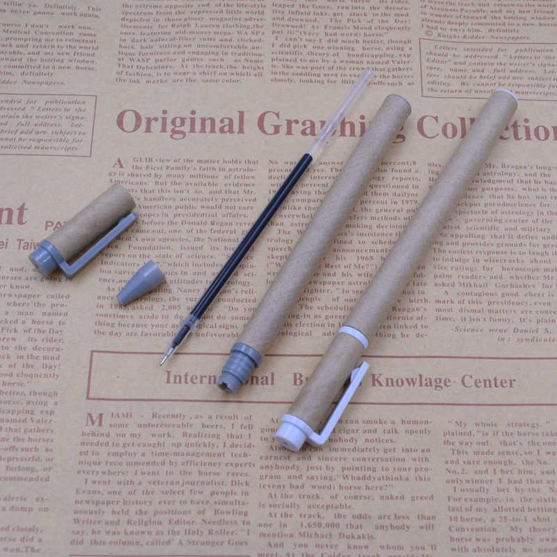 Papier Kraft corps Gel stylo 0.5mm encre noire outil d'écriture matériel d'écriture papeterie