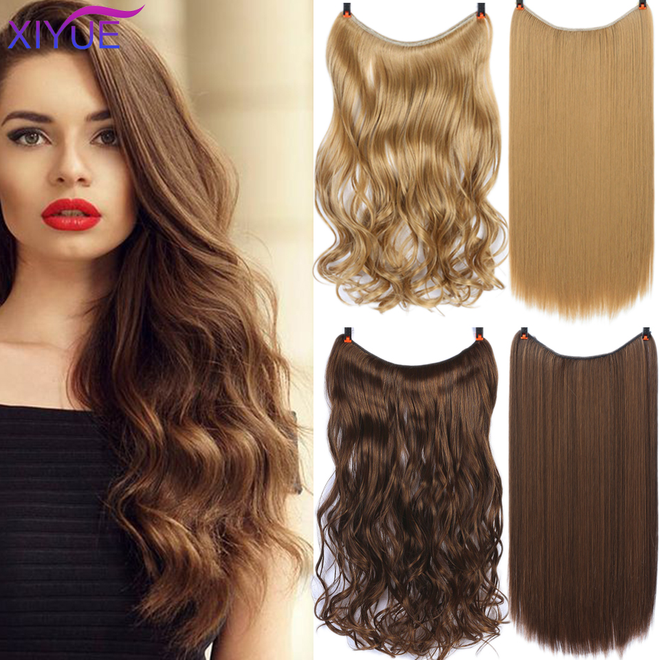Invisible Wire No Clips In Hair Extensions Synthetic Secret Fish Line Silky Straight Heat Resistant Fiber Hairpieces False Hair