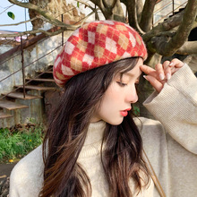 Popular Women Beret Winter Warm Hats Female Plaid Caps British Style Painter Bonnet Sadual Ladies Mujer Accessories