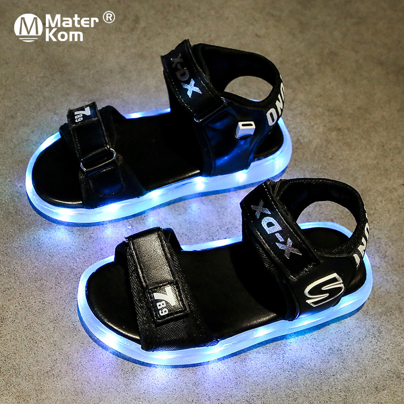 Size 25-36 Children Breathable Sandals Girls Led Light Up Shoes Boys Anti-slippery Luminous Shoes Unisex Glowing Casual Sandals