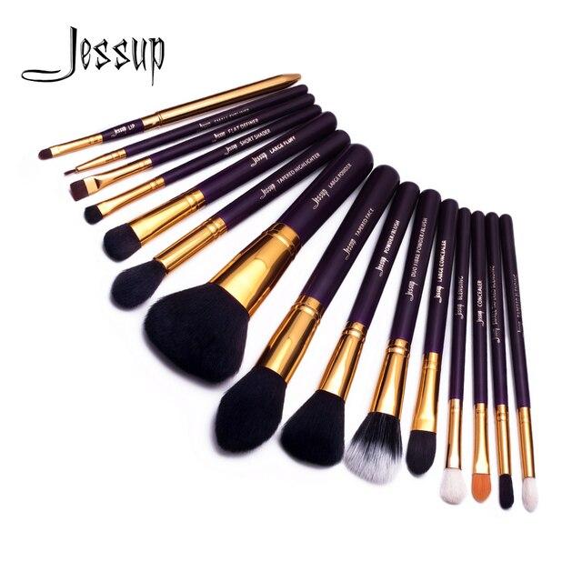 Jessup make up brush Set Viola/Oro brochas maquillaje Sintetico Capelli Kit di Polvere Cosmetico Prodotti Di Base Blush, Fard Rossetti 15pcs