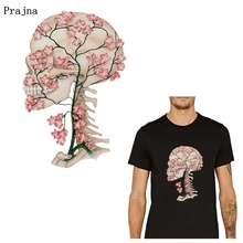 Prajna Skull Flowers Iron On Transfers Vynil Heat Transfer Thermal Patches For Clothing Punk Ironing Stickers T-shirt Applique prajna starry sky love letters iron on transfers for clothing diy heat transfer vynil thermal patches ironing stickers t shirt