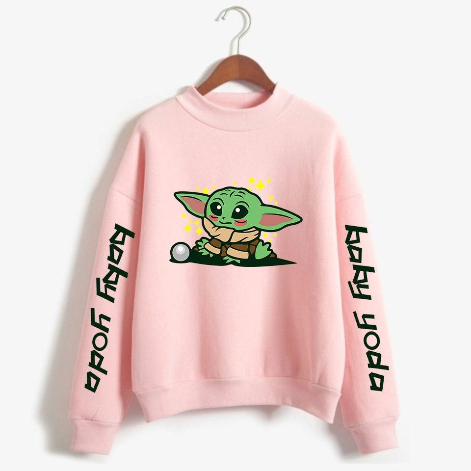 The Mandalorian Baby Yoda Pink Hoodies Men Women Harajuku Hoodie Sweatshirt Winter Kawaii Fleece Warm Turtleneck Tracksuit Tops