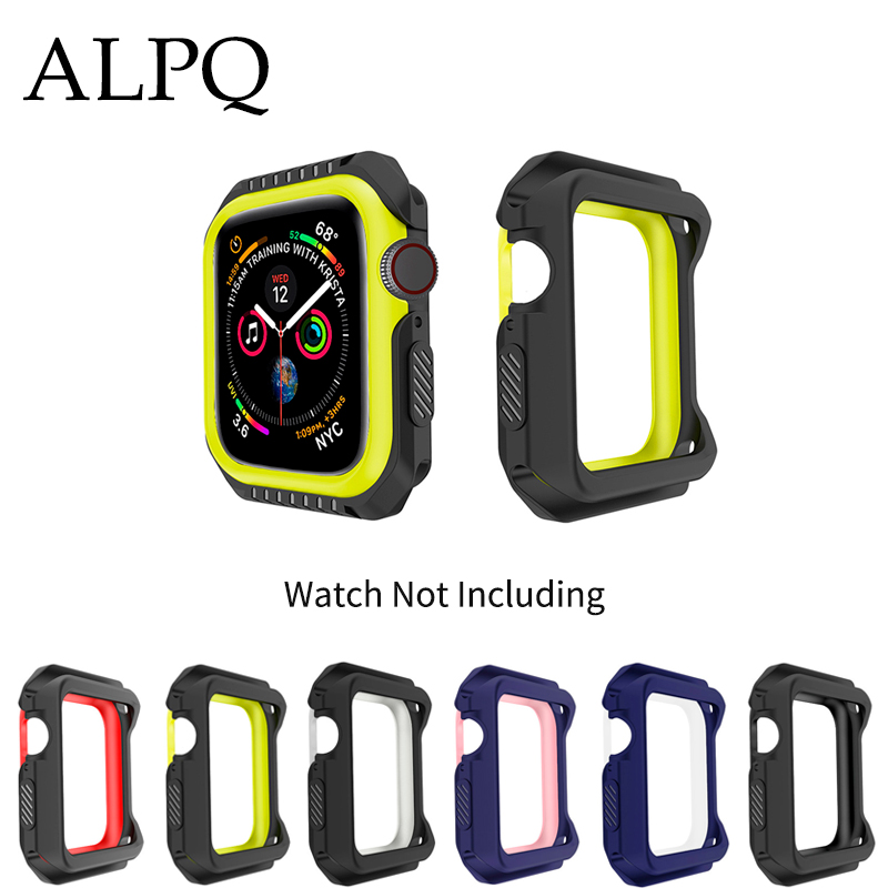 ALPQ 2Pcs/Lot Silicone Plain Case Coque For <font><b>Apple</b></font> <font><b>Watch</b></font> 40mm 44mm For <font><b>watch</b></font> Series 4 <font><b>3</b></font> 2 1 38mm <font><b>42mm</b></font> Fall Resistance Case image