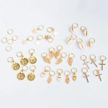 5pcs/Pack Stars Ring Charms Hair Braid Dread Dreadlock Beads Clips Cuffs Rings Jewelry Dreadlock Clasps Hair Accessories Tools