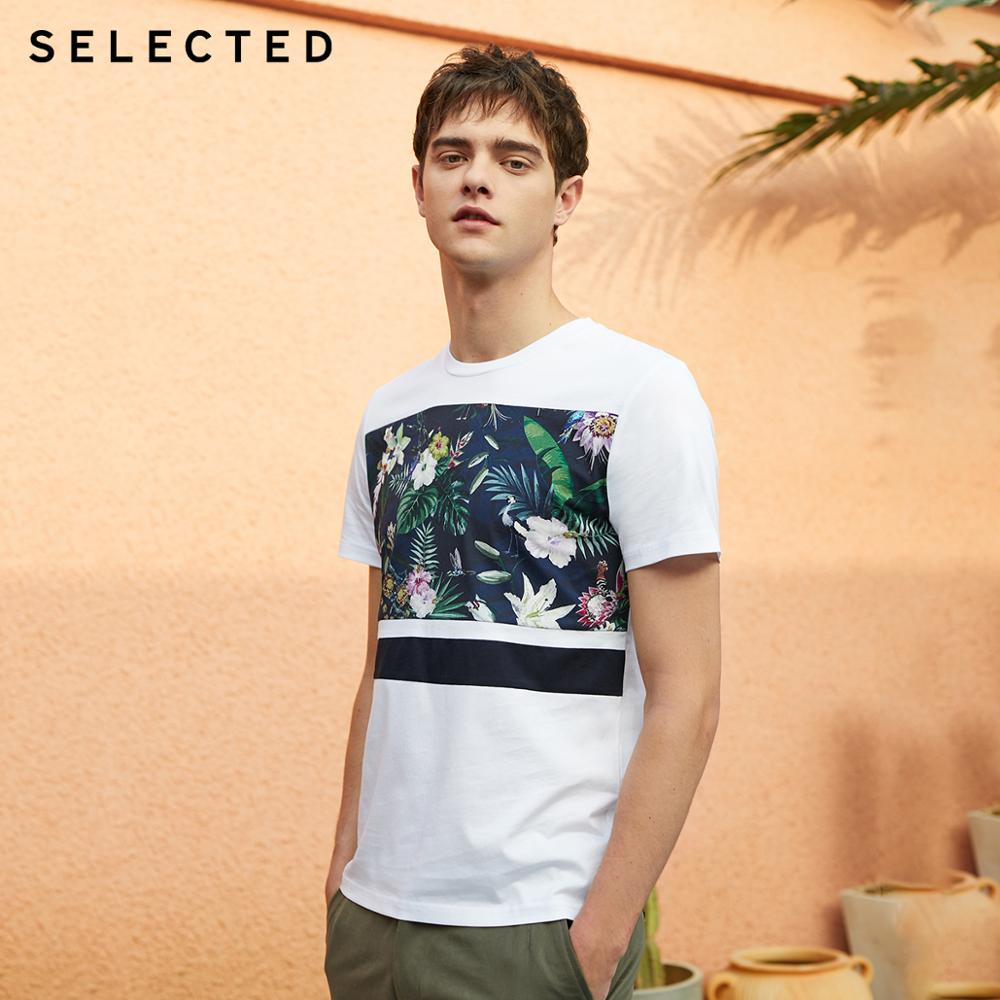 SELECTED Men's Summer 100% Cotton Printed Short-sleeved T-shirt S|419201617