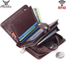 Flanker 100% genuine leather Rfid wallet casual men brand short coin purse small wallets card holder zipper pocket man money bag