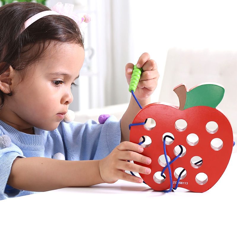 Korean-style Worm Eating Apple Strawberry Watermelon Pineapple Threading Hands-on Wooden Toys Baby 1-2-3-4-Year-Old Children Ear
