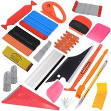 Ehdis acessórios do carro kit de ferramentas de envolvimento de vinil filme de fibra carbono adesivos envoltório rodo raspador faca conjunto matiz janela indefinido