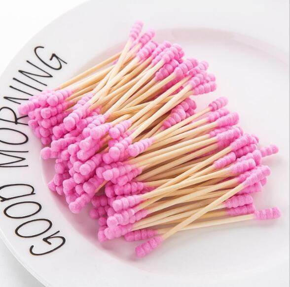100pcs / pack double head cotton bud for women makeup Cotton tip for wooden medical sticks nose ears cleaning health care tools 2