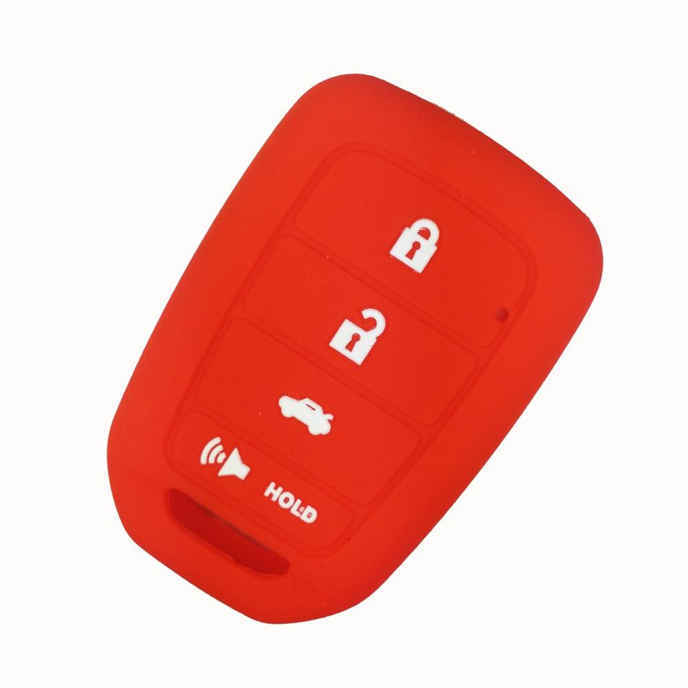 Black and Red Silicone Rubber Keyless Entry Remote Key Fob Case Skin Cover Protector for Honda 3+1 Buttons