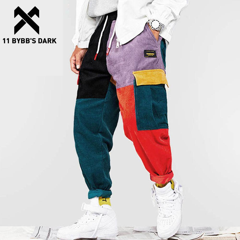 11 BYBB'S DARK Corduroy Patchwork Pockets Cargo Pants Men Vintage Harem Joggers Harajuku Sweatpants Hip Hop Streetwear Trousers
