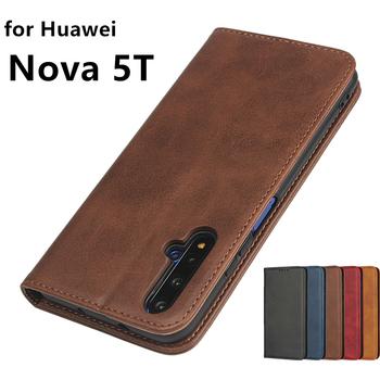 Skórzane etui do Huawei Nova 5T etui z klapką etui na karty etui na przyciąganie magnetyczne etui na portfel tanie i dobre opinie Bova Leathe Magnetic 6 26 Zwykły Matowy Odporna na brud Podpórka Anti-knock Z Kieszeni Karty Adsorpcji for Huawei Nova 5T