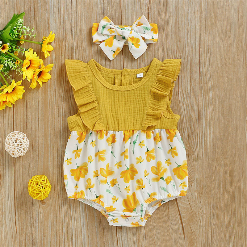 Newborn Kid Baby Girl Clothes Floral Summer Outfit Set