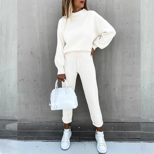Autumn Solid Casual Tracksuit Women Sports 2 Pieces Set 2020 Casual Long Sleeve Drawstring Top & Pants Outfits Oversized Suit