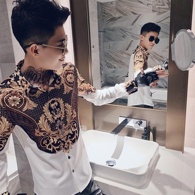 Luxury Print Shirt Men Autumn New Tuxedo Shirt Long Sleeve Streetwear Patchwork Color Mens Casual Shirts Slim Fit chemise homme