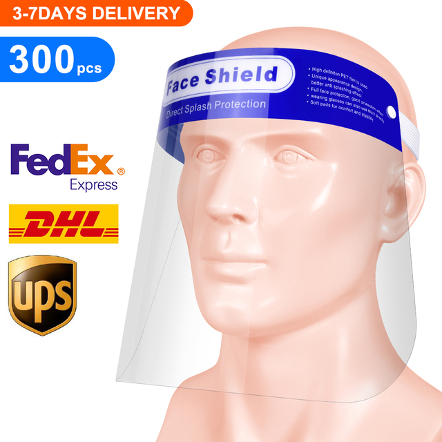 300pcs/lot Full Face Shield for Men Women ,Disposable Protective Face Shield Anti Splash and Saliva Clear Film Protect Face