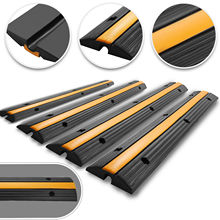 4pcs 1-Channel Rubber Cable Protector Speed Bumps Cable Wire Cord Cover Ramp Speed Bump Driveway Hose Cable Ramp Protective