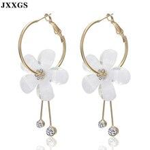 JXXGS Women Earrings Sweet Elegant Jewelry Long Drop White Flower Style Earring for Wedding/Party Daily Wear