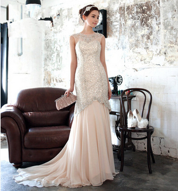 Vestido De Festa Party Women Evening Gown Long Lace Prom Fast Shipping 2018 Sexy Sleeveless Crystal  Mother Of The Bride Dresses
