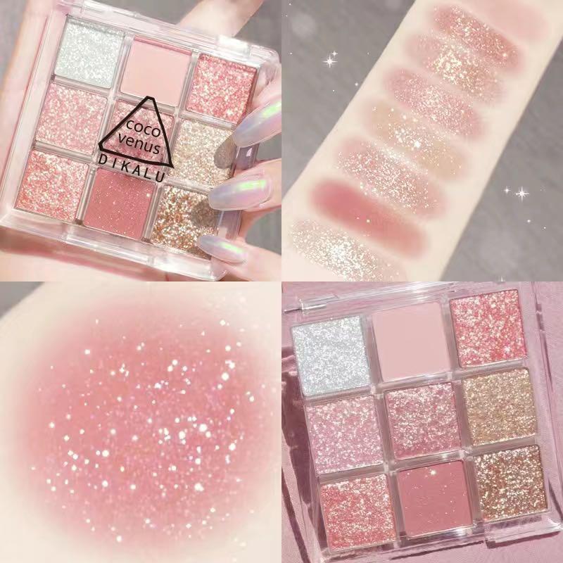 Мягкий макияж для девочек, 9 цветов, Сияющие блестящие тени для век, палитра, водонепроницаемый блеск, Алмазный пигмент, тени для век, космети...